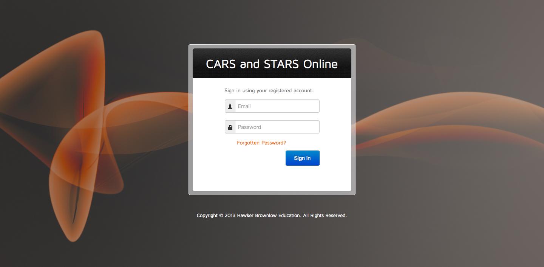 CARS & STARS Online Portal Login Page